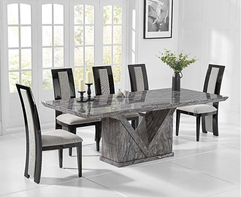Mocha 220cm Grey Marble Dining Table With Raphael Chairs Marble