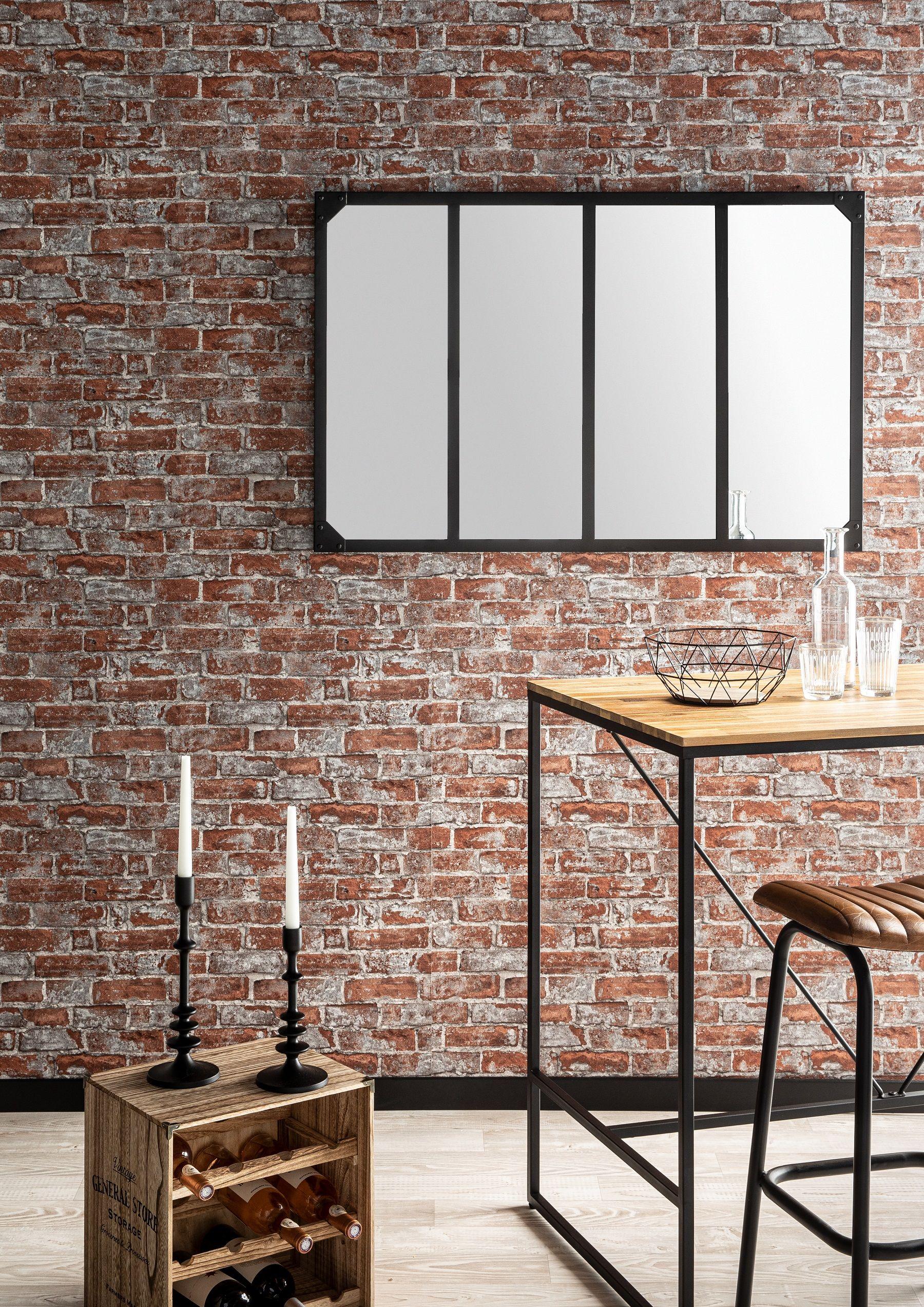 Papier Peint Effet Miroir craquez pour une décoration industrielle pour votre salle à