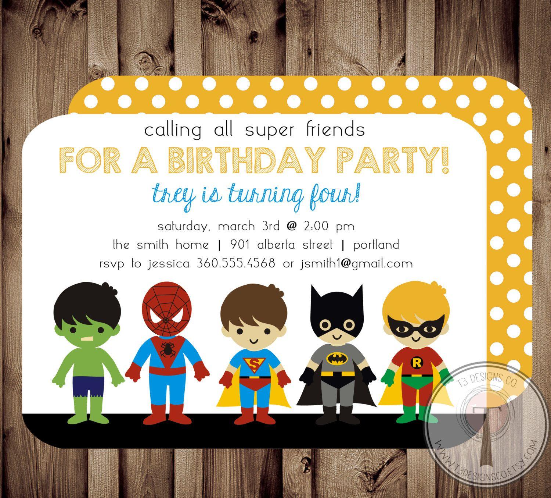 SUPERHERO Birthday Invitation, Chalkboard,super hero birthday ...
