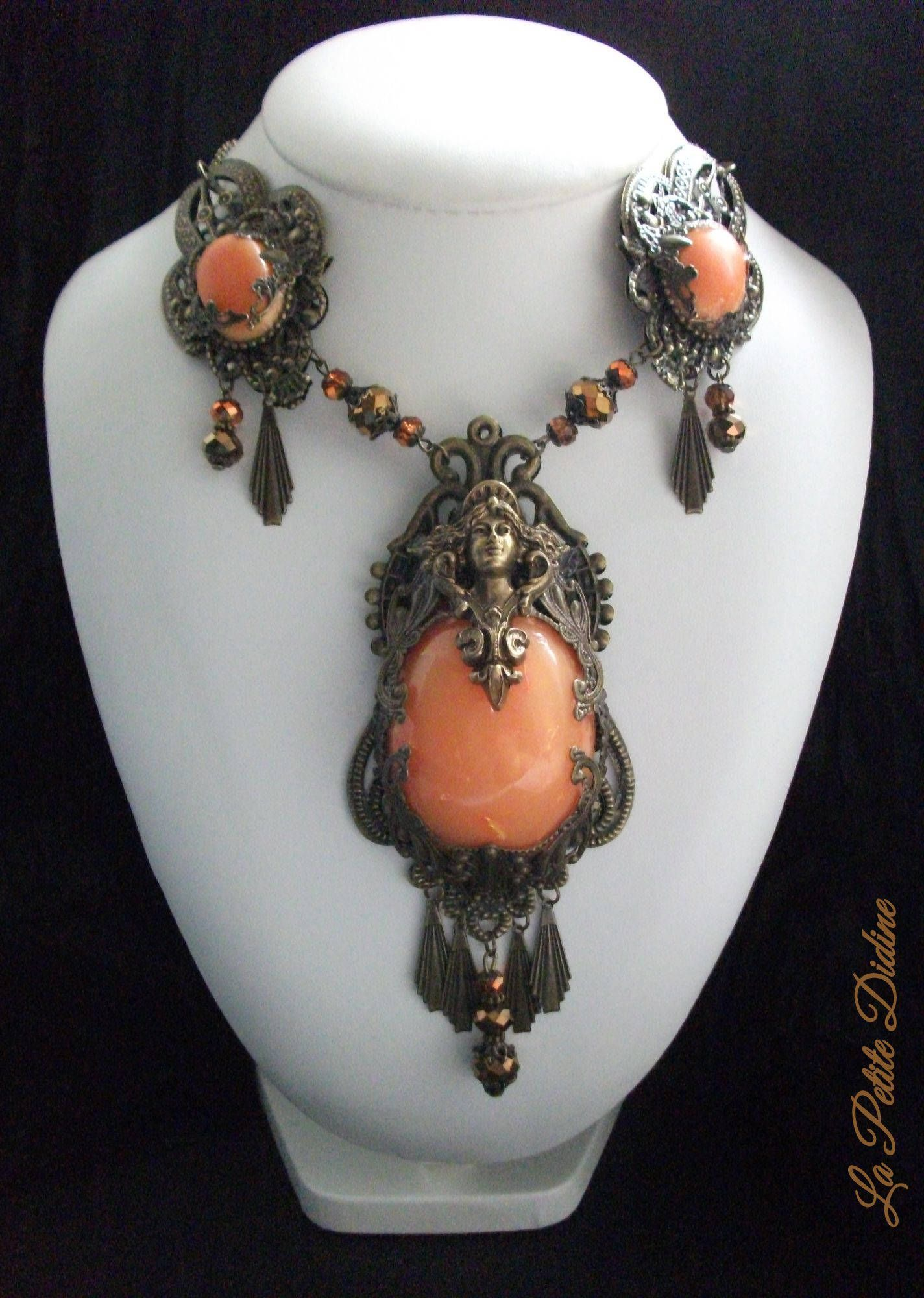 Orange and bronze art nouveau necklace with solid brass