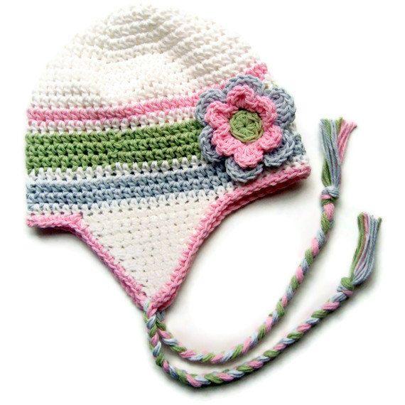 Girls Crochet Earflap Hat with Ties, Crochet Baby Hat, Newborn ...
