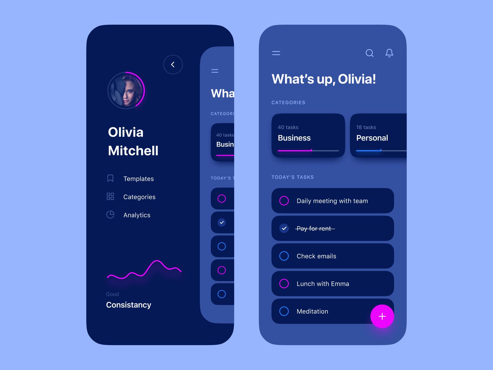 Todo App Dark Theme App Interface Design Mobile App Design Inspiration App Design Inspiration