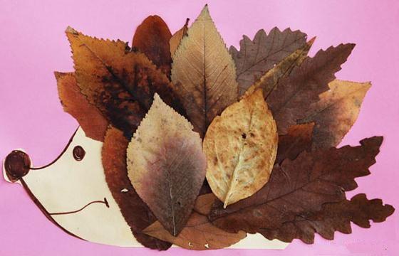 可爱的小刺猬树叶贴画立体画制作教程