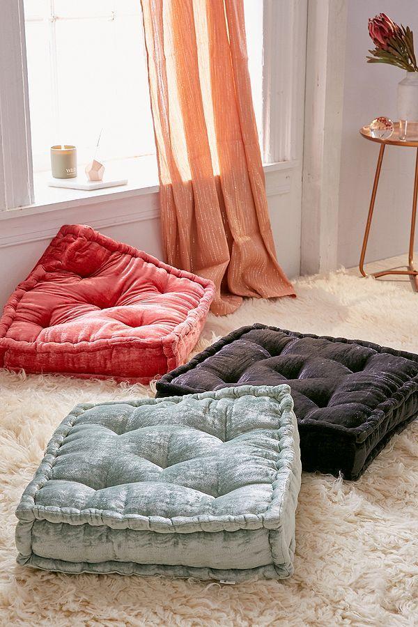 Ruthie Velvet Floor Pillow   Floor pillows, Pillows and Interiors