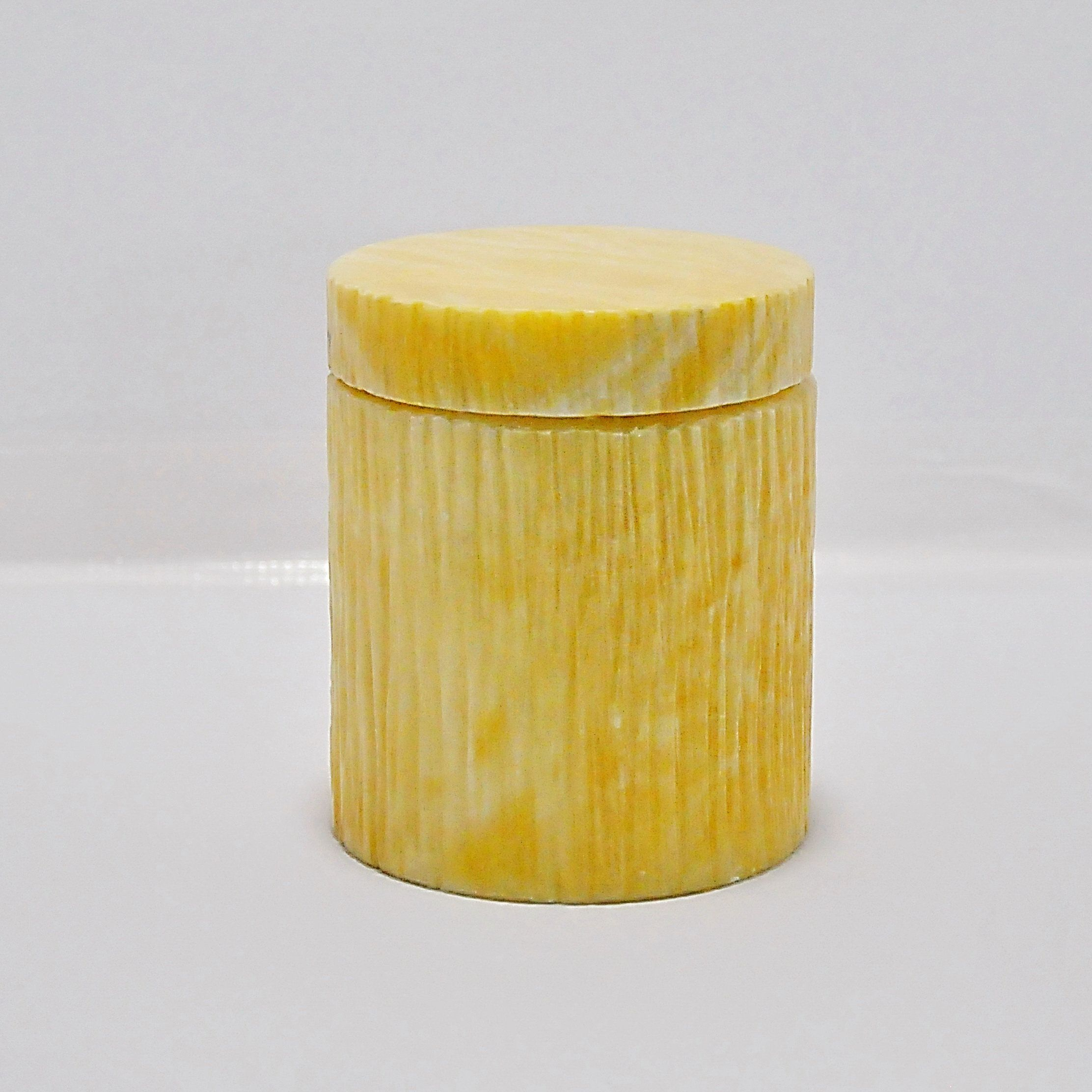 Round Yellow Alabaster Marble Vintage Humidor Container Jar