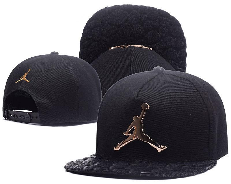 4a9419e1f44 Men s Nike Air Jordan The Jumpman Metallic Logo Custom Faux Animal Leather  Brim Snapback Hat - Black