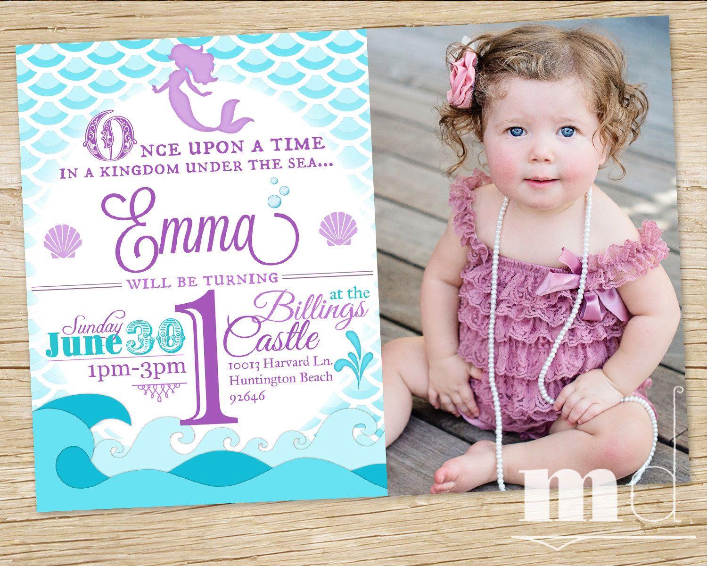 Mermaid Birthday Party Invitation WITH PHOTO, Little Mermaid ...