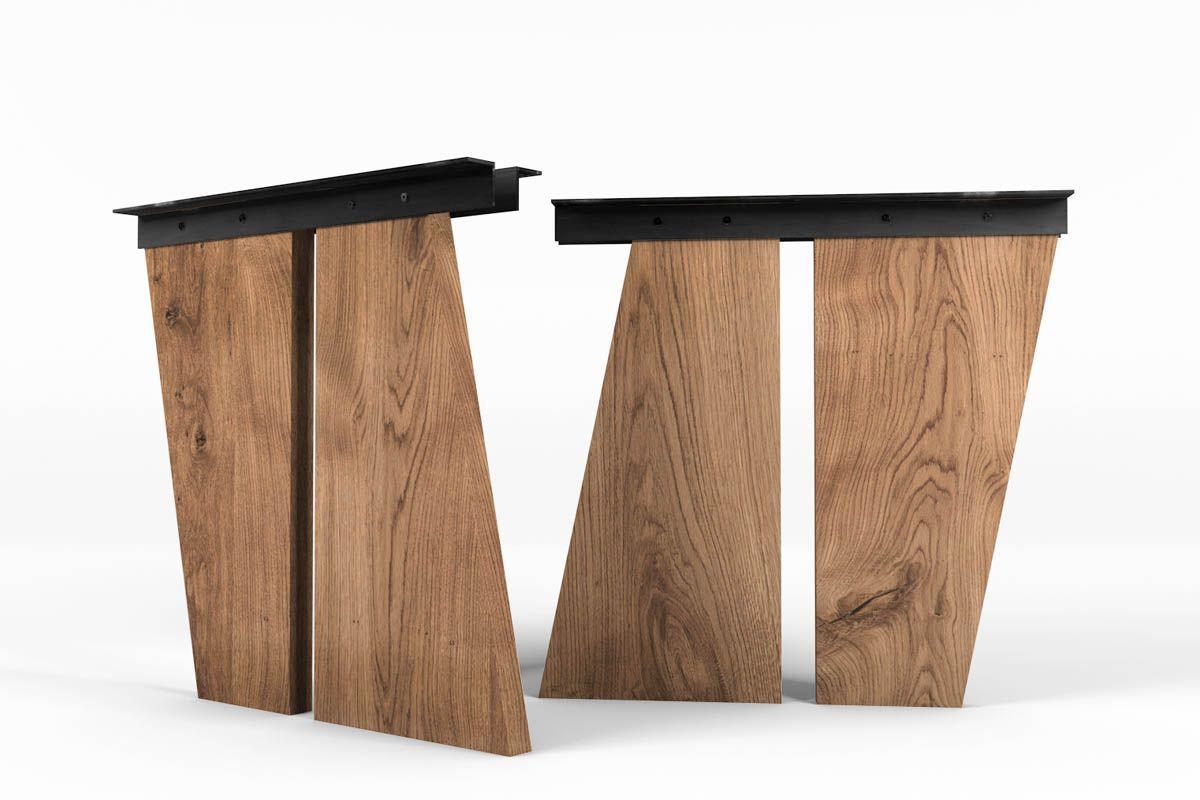 Tischwangen aus Holz schräg nach Maß gefertigt | Tischgestelle ...