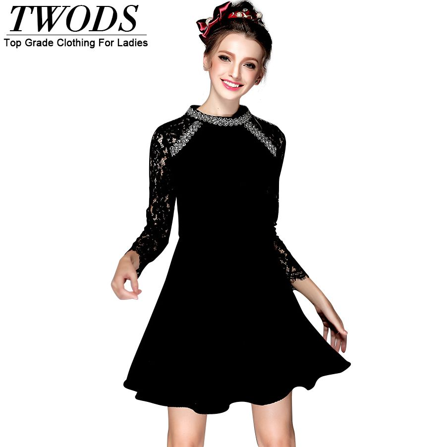 S- 5xl Lace Long Sleeve Vintage Dress Beading Mock Neck Slim Little Black Skater Dress