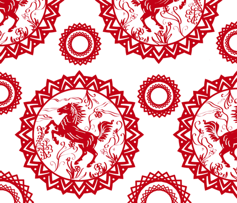 ❤ =^..^= ❤  Year_of_the_Horse fabric by ttpie on Spoonflower - custom fabric