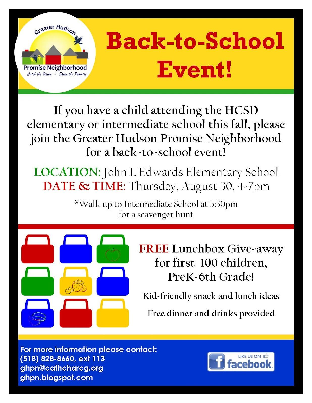 Back To School Welcome Event Flyer Idea Greater Hudson Promise Neighborhood