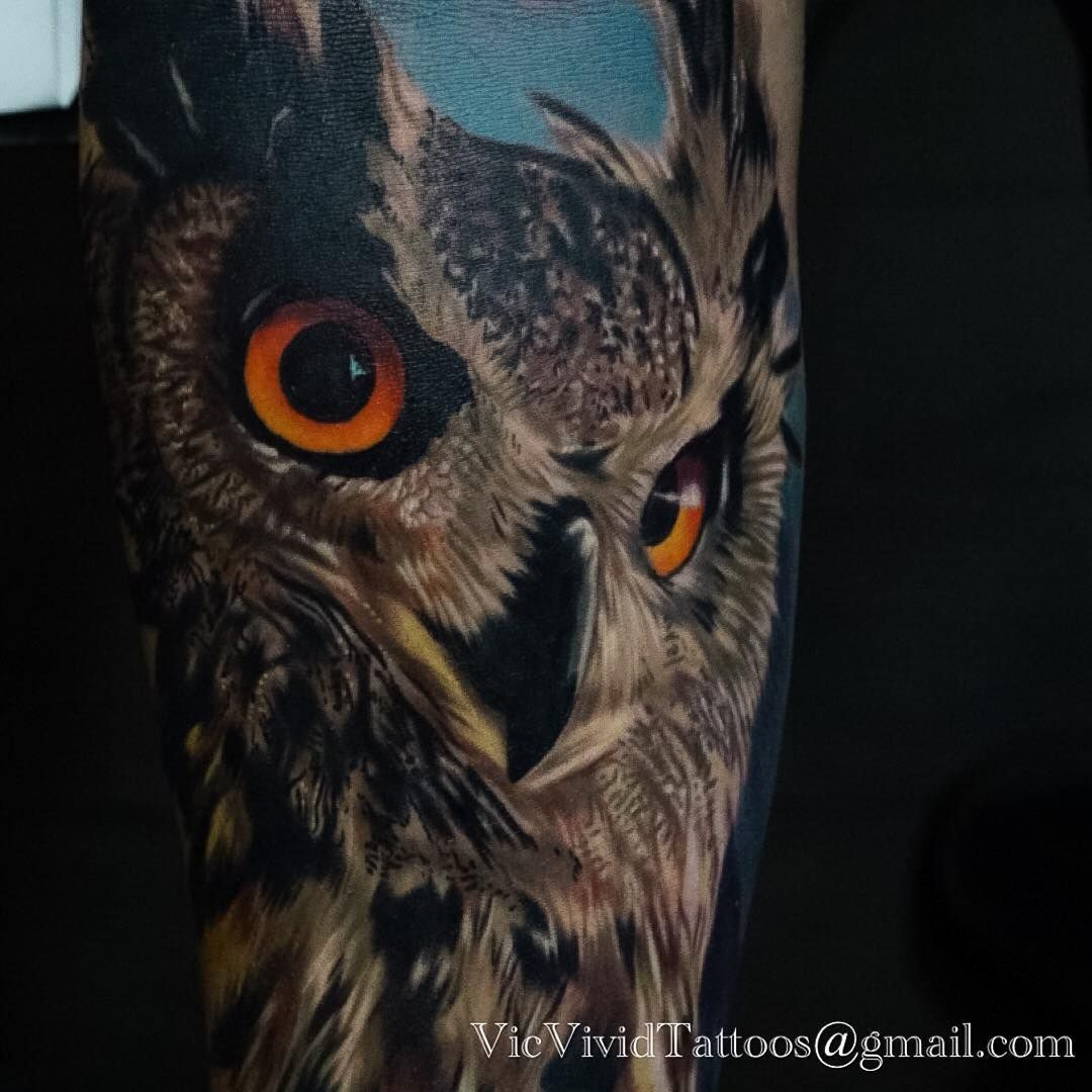 Detail shot of yesterday's great horned owl tattoo. Thanks ...