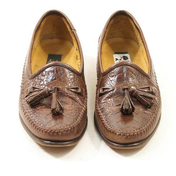70s Tassel Loafers in Brown Reptile / Men's sz 85 / by nickiefrye, $46.00