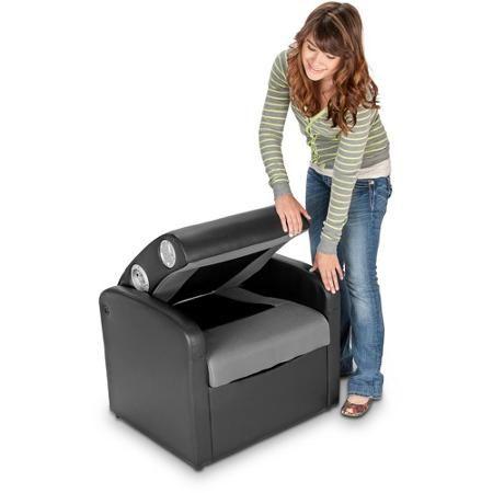 storage ottoman sound chair what is a snuggler x rocker triple flip 2 0 black gray