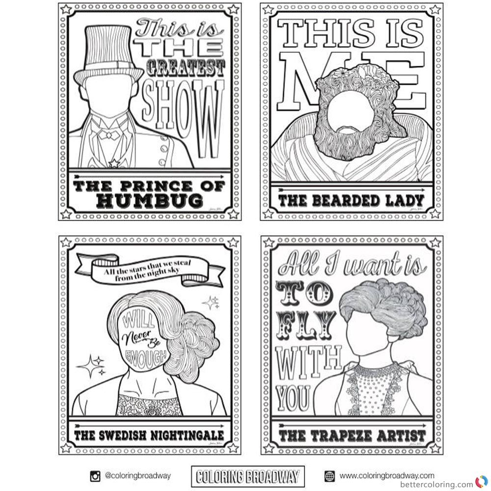 the greatest showman coloring pages The Greatest Showman Coloring Pages Four Characters printable for  the greatest showman coloring pages