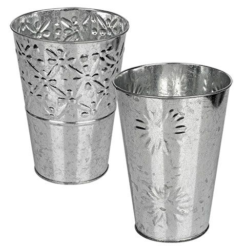 Bulk Galvanized Vases With Perforated Accents At Dollartree