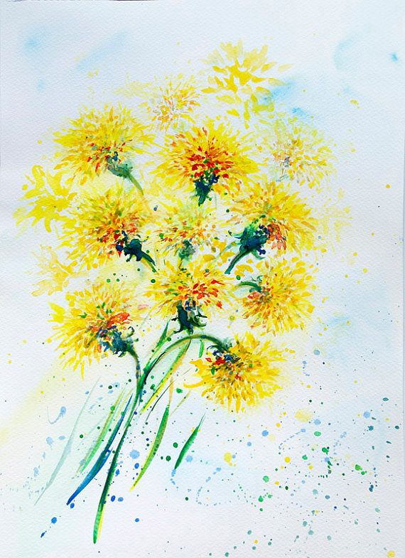 Happy Little Dandelions Watercolor Flowers Paintings Dandelion Tattoo Dandelion Painting