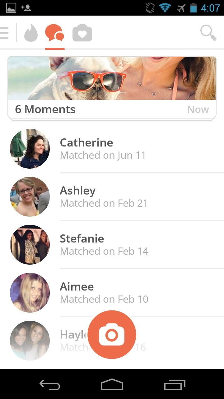 Tinder for Android uses the action bar and a drawer menu