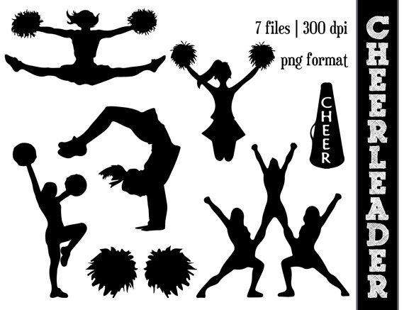 Cheerleader Silhouettes Cheer Silhouette Cheering Clipart Athletic Athlete Silhouettes Pom Poms Cheer Clipart Cheer Decorations Cheerleading Party
