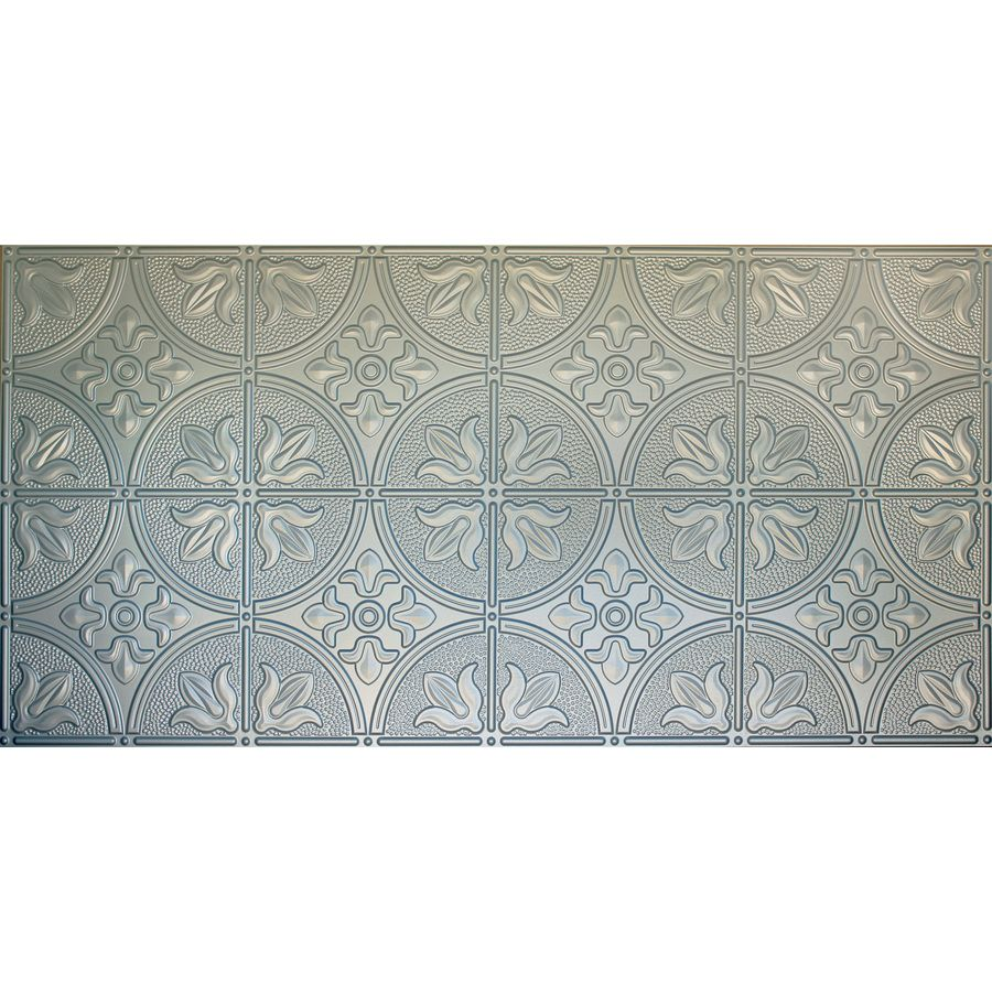 Dimensions Nickel Faux Tin Surface-Mount Ceiling Tile (Common: 48-in ...