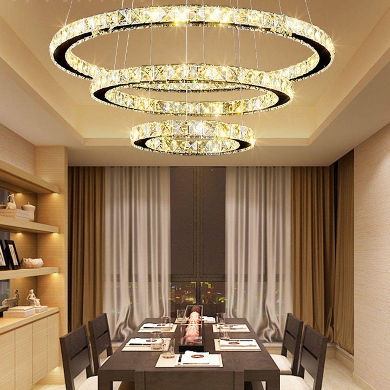 Modern Crystal 3 Rings Pendant Light Circle Ceiling Lamp