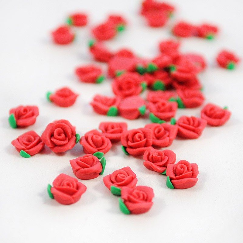 Polymer Clay Cane Flower Red Rose Kawaii Nail Art only$1.99 ...