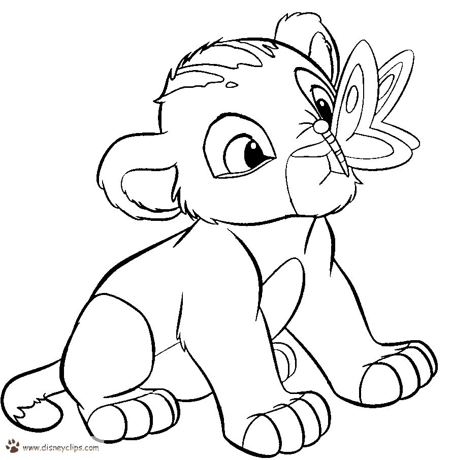 Baby Simba Coloring Pages Free In 2020 Lion Coloring Pages Lion King Drawings King Drawing