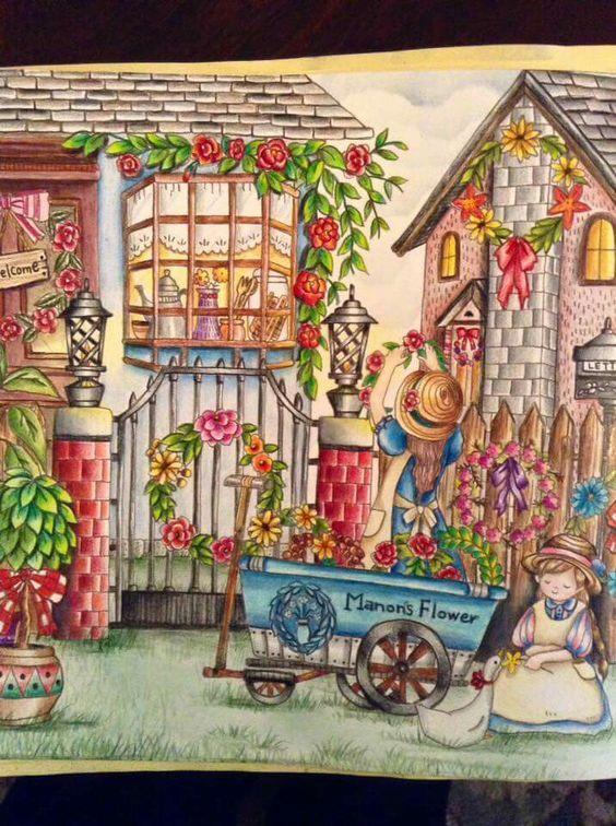 Romantic country coloring book romantic country coloring for Piccoli disegni cottage