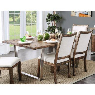 Furniture Of America Kadin Rustic Industrial Dining Table Idf
