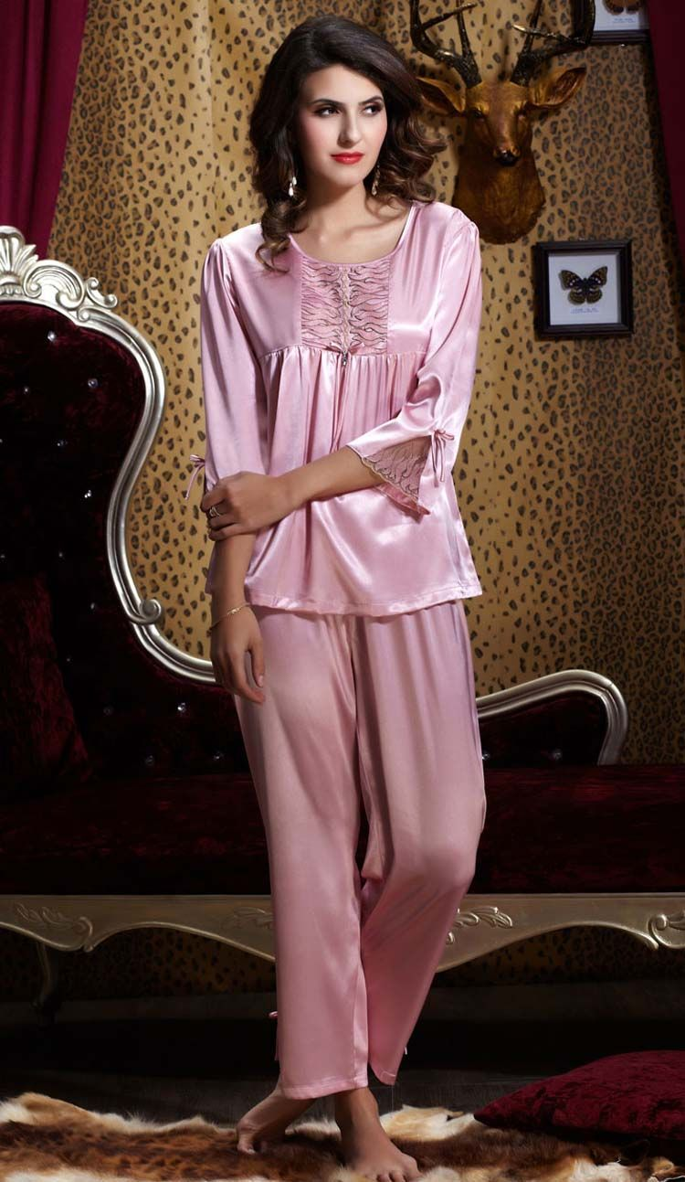 49b7cac45be1 Silk Blend Gorgeous Women Sleepwear Sleep Long Tops Pants Lace Pajama Sets  Gifts
