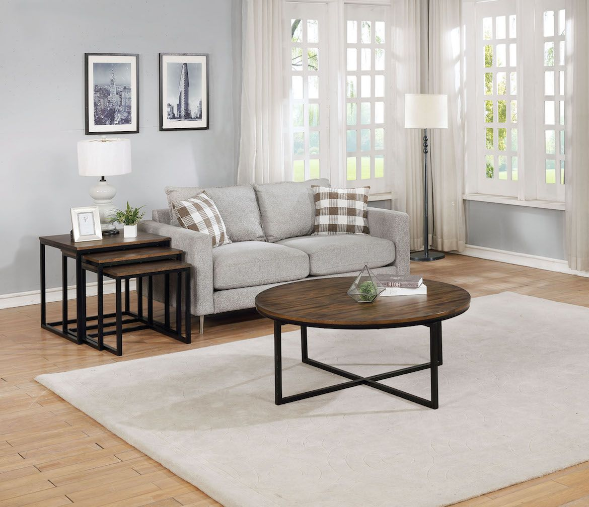 The Arcadia Collection Features A Beautiful Antique Mocha Finish And Accenting Metal Legs The Large Round Nesting Coffee Tab Furniture 4 Piece Coffee Table Set Round Coffee Table