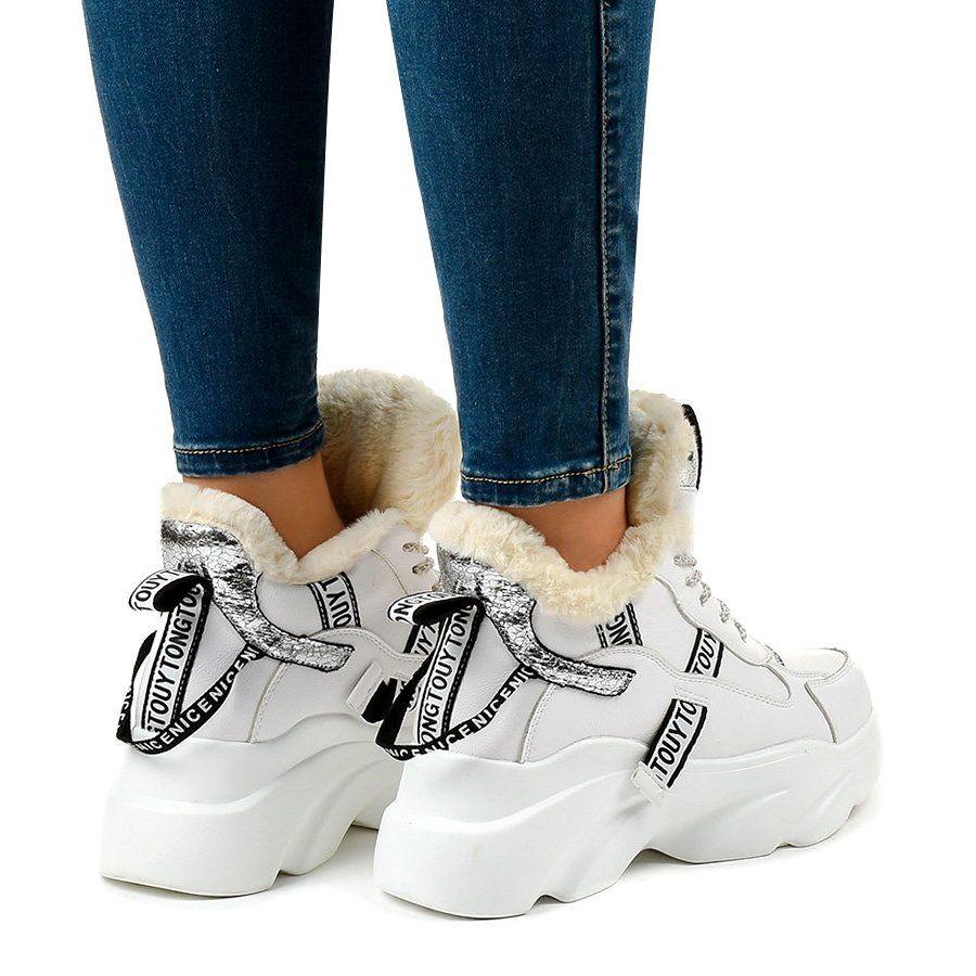 Biale Damskie Sneakersy Ocieplane D80 31 Wedge Sneaker Shoes Sneakers