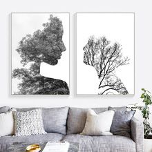 Forest Girl Canvas Nordic Poster Art Prints Abstract Painting Wall Picture Decor