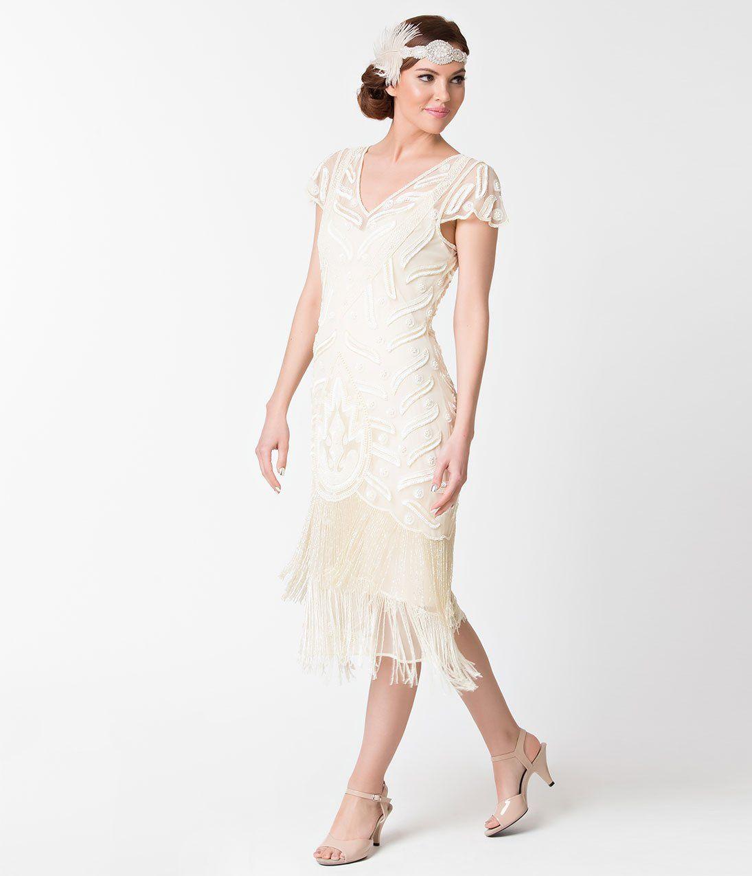 1920s style cream ivory beaded vegas fringe flapper dress