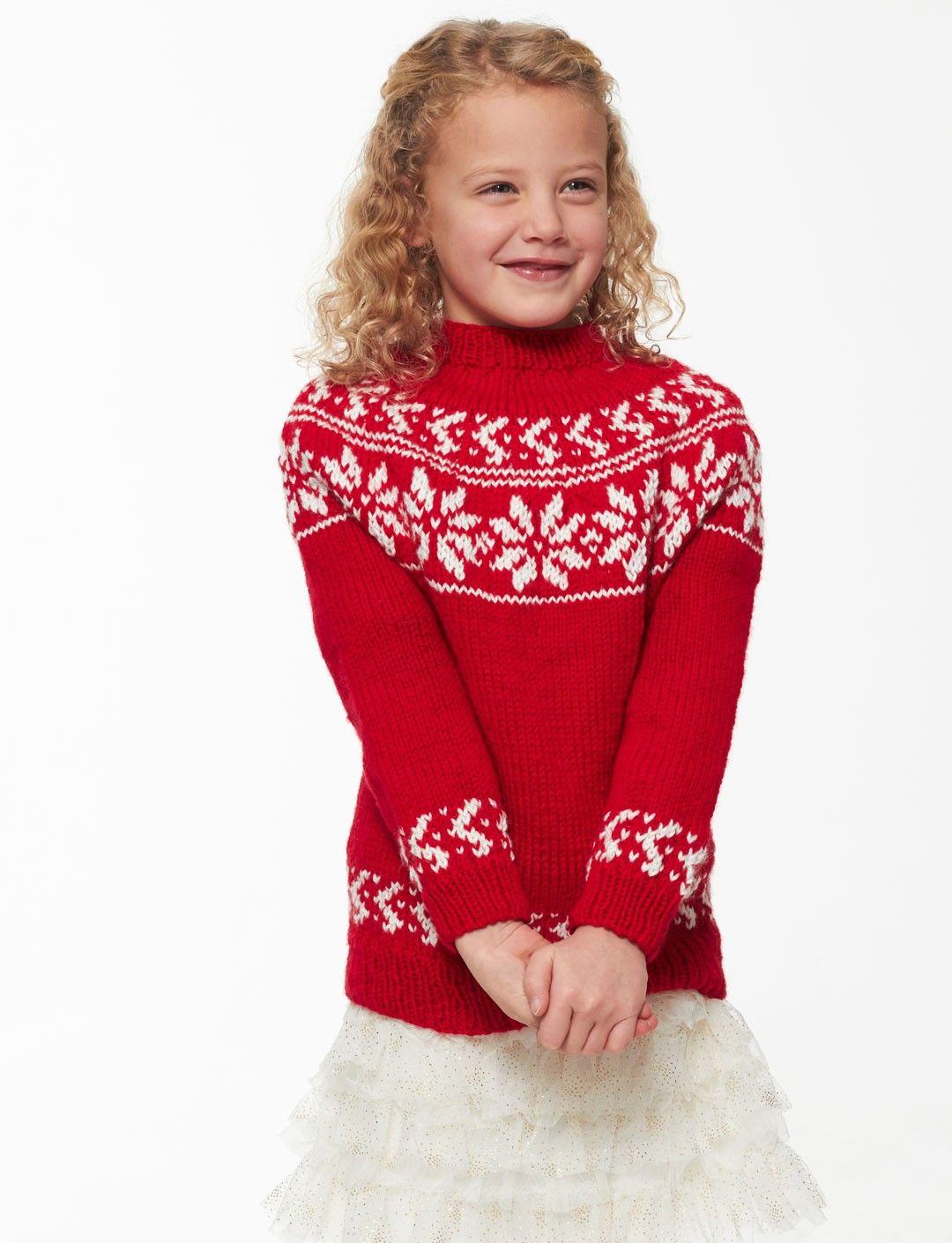 Bernat yuletide yoke free knitting pattern for snowflake childs bernat yuletide yoke free knitting pattern for snowflake childs sweater bankloansurffo Images