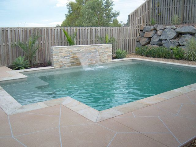 image result for inground concrete rectangular swimming pool with beach entry - Rectangle Pool With Water Feature