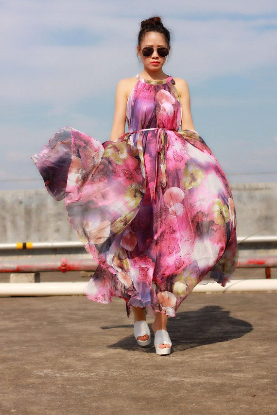 a9d8be838f9e 2018 Summer floral dress long purple summer dress plus size maxi dress  beach dress bridesmaid dress