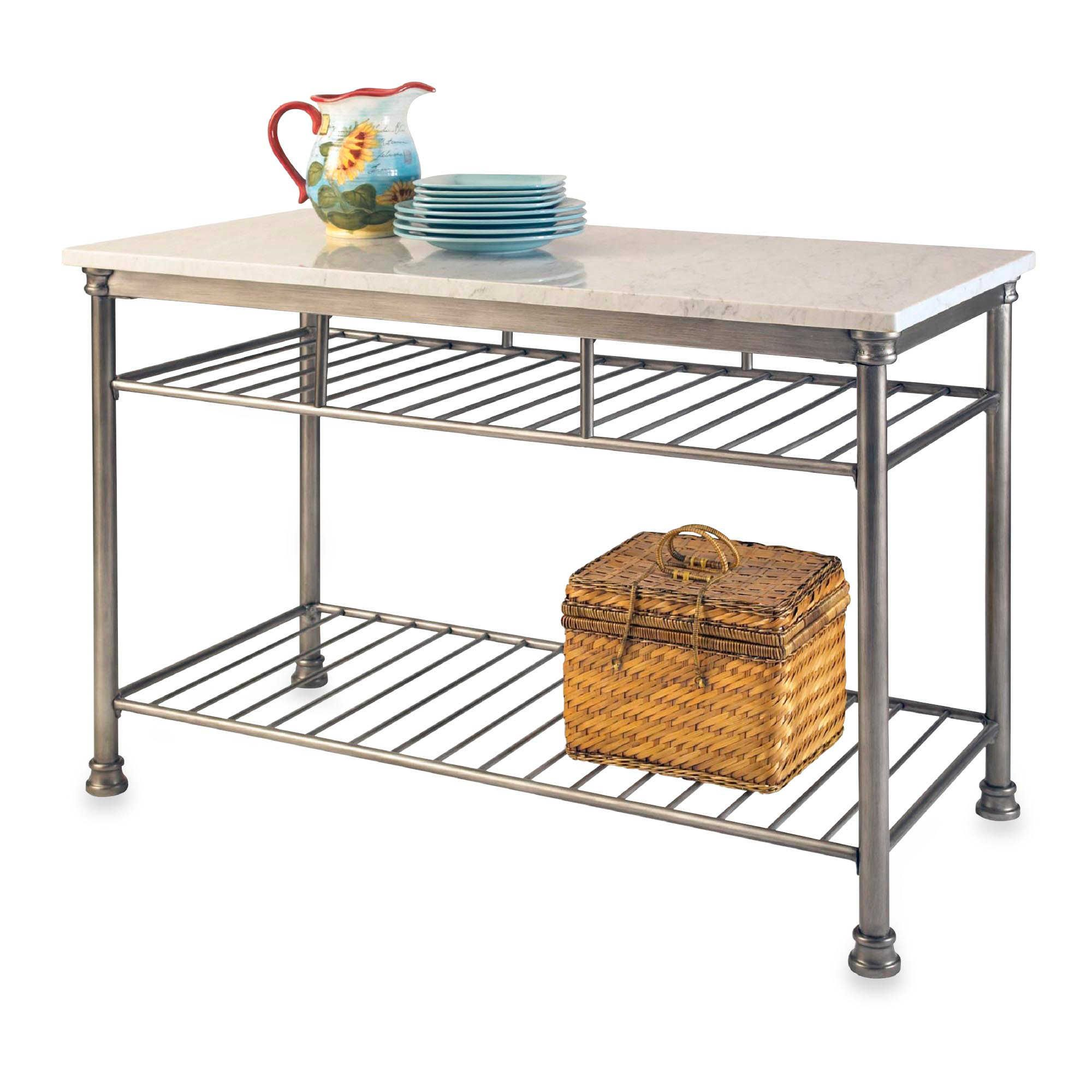 Home styles the orleans kitchen island with marble top ev