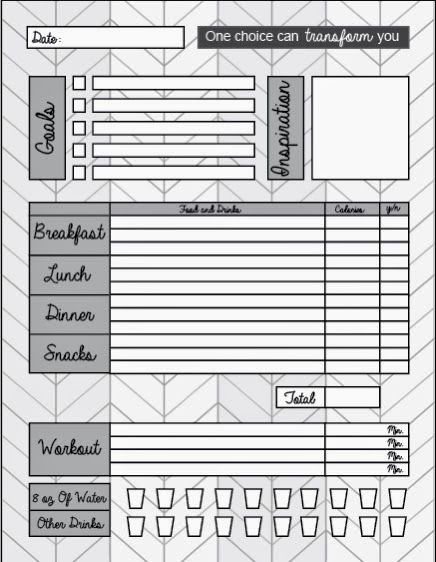 free printable food journal help your weight loss