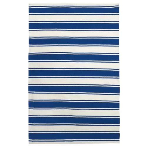 Chapdelaine Striped Handmade Cotton Blue White Area Rug