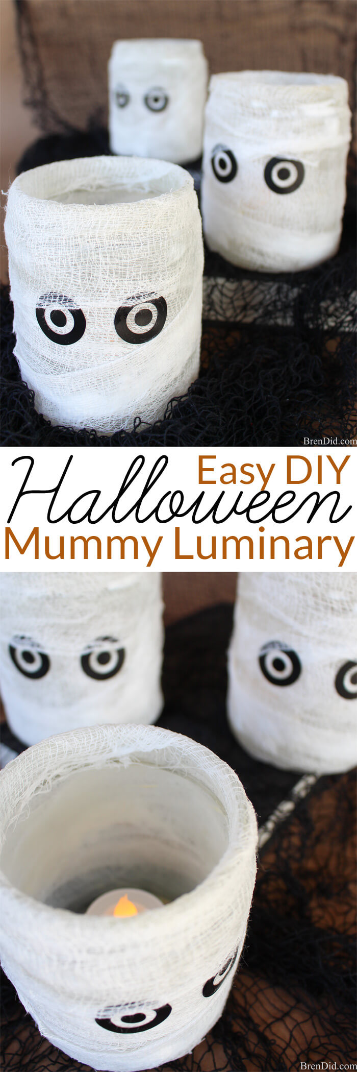 Mummy Luminary Easy Homemade Halloween Decoration Homemade - Homemade Halloween Decorations