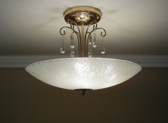 Vintage 1950 S Chandelier Mid Century Modern Eames Glass Brass Ceiling 4 Light Fixture Rewired On Etsy 249 0 Chandelier Mid Century Lamp Modern Vintage Homes