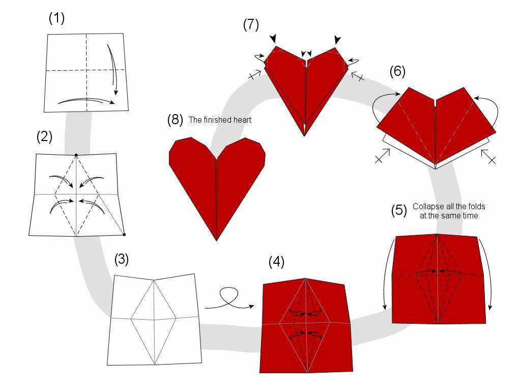 Оригами сердечко как открытка, днем рождения