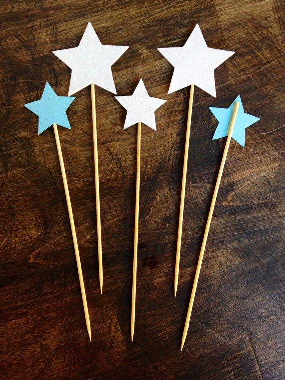 Star Cake Topper Glitter Blue By Tissueandtwine