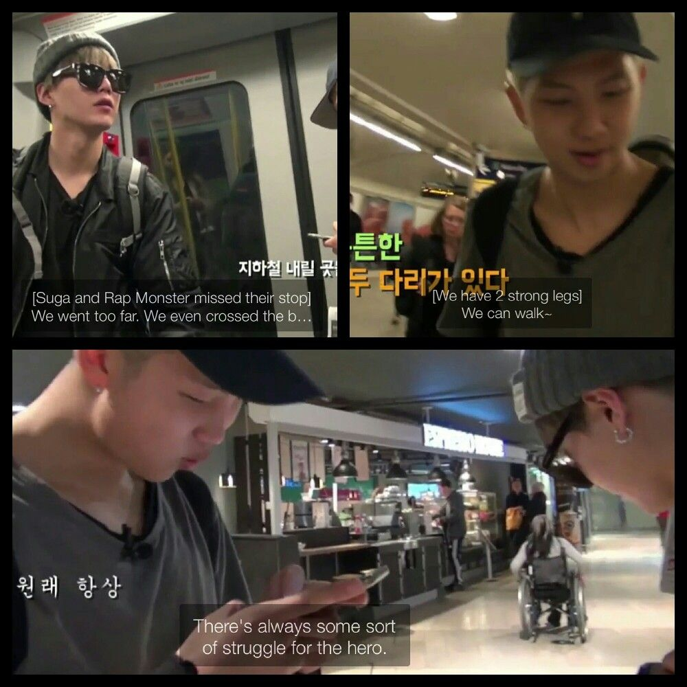 """#BTS #방탄소년단 Bon Voyage Episode 4 ❤ Sugamon still playing the Avengers aha """"There's always some sort of struggle for the hero""""."""