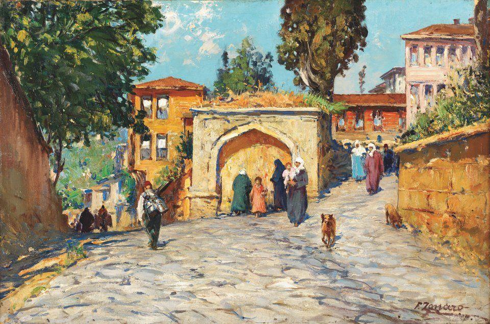 Women in Front of a Fountain, Fausto Zonaro