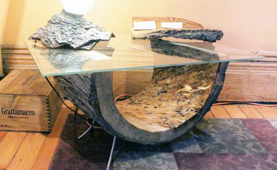 Sculpted Maple Coffee Table With Glass Top And Repurposed
