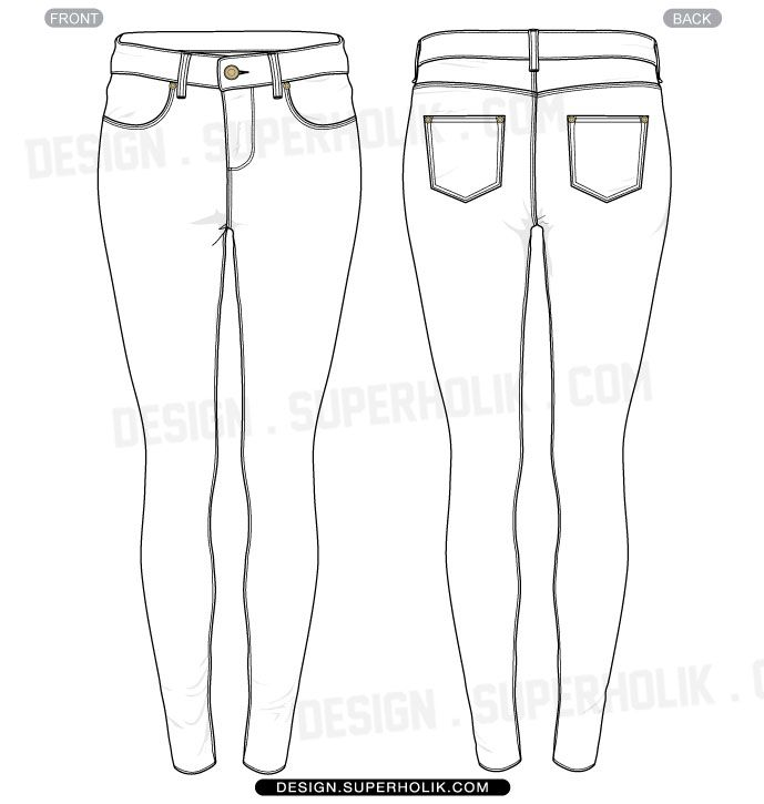 Skinny fit pants template Fashion Vector Templates in 2019