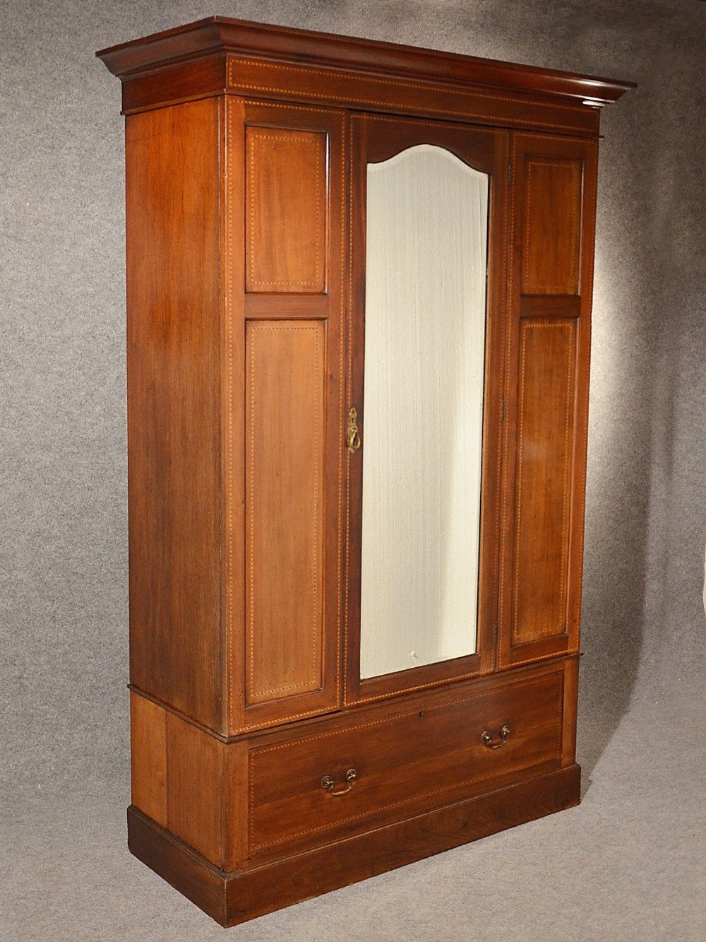 Antique Wardrobe Armoire Mirror Door Maple