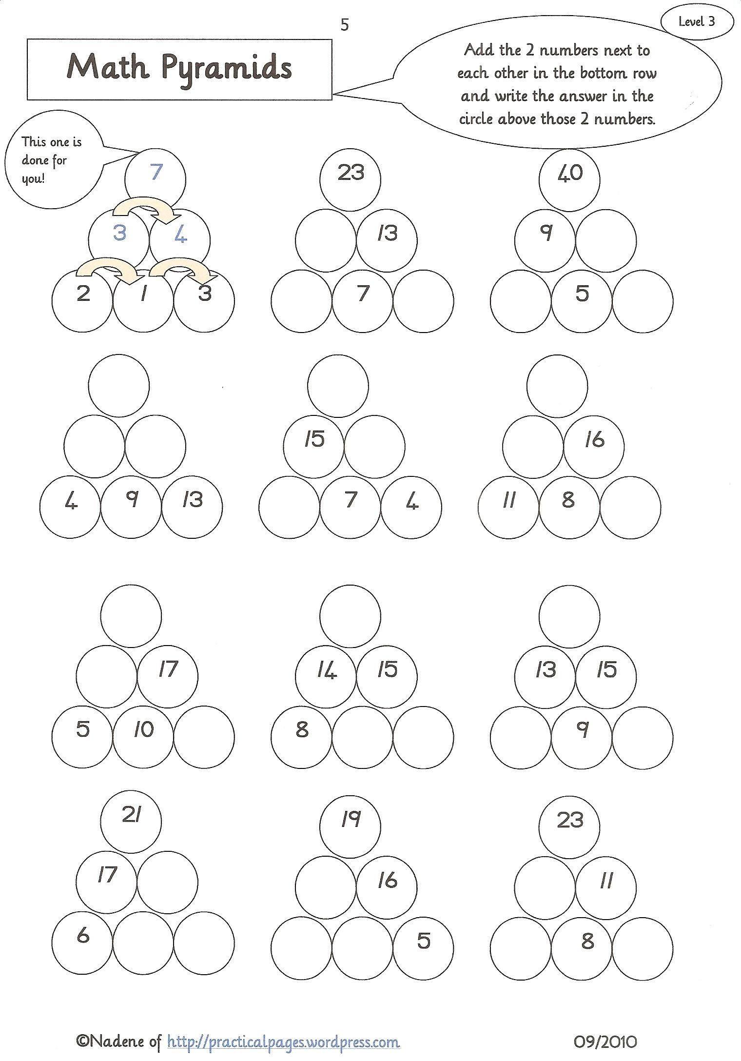 Maths Pyramids for Mental Maths Practice | Pinterest | Worksheets ...
